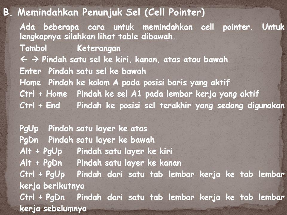 Ada beberapa cara untuk memindahkan cell pointer. Untuk lengkapnya silahkan lihat table dibawah. B. Memindahkan Penunjuk Sel (Cell Pointer) Tombol Ket