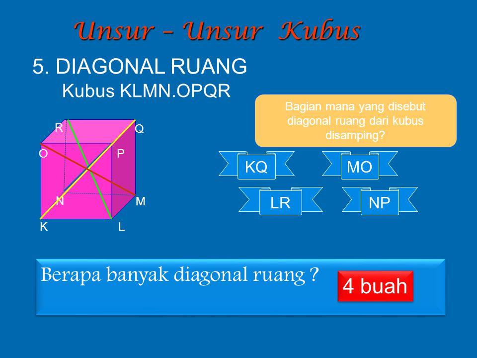 Unsur – Unsur Kubus Bagian mana yang disebut diagonal ruang dari kubus disamping? KQ LR MO 5. DIAGONAL RUANG Kubus KLMN.OPQR K L M N O P Q R NP Berapa