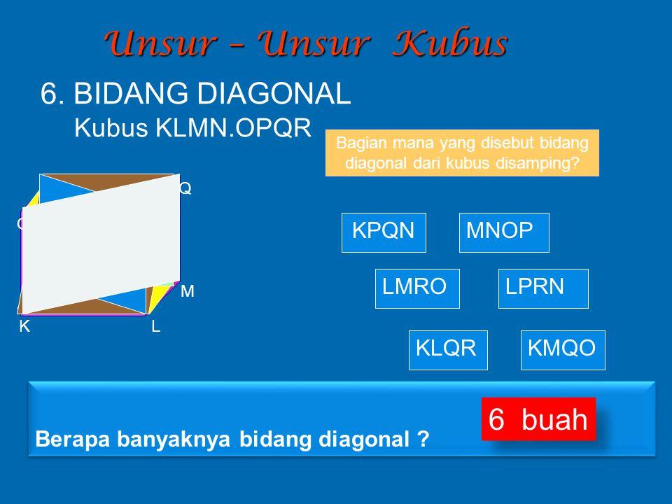 Unsur – Unsur Kubus Bagian mana yang disebut bidang diagonal dari kubus disamping? KPQN KLQR LPRN MNOP KMQO LMRO 6. BIDANG DIAGONAL Kubus KLMN.OPQR K