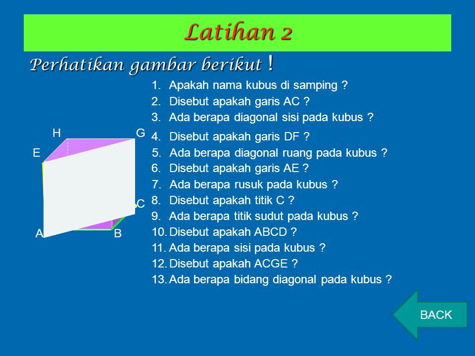 Latihan 2 Perhatikan gambar berikut ! A B D C E F HG 1.Apakah nama kubus di samping ? 2.Disebut apakah garis AC ? 4.Disebut apakah garis DF ? 6.Disebu