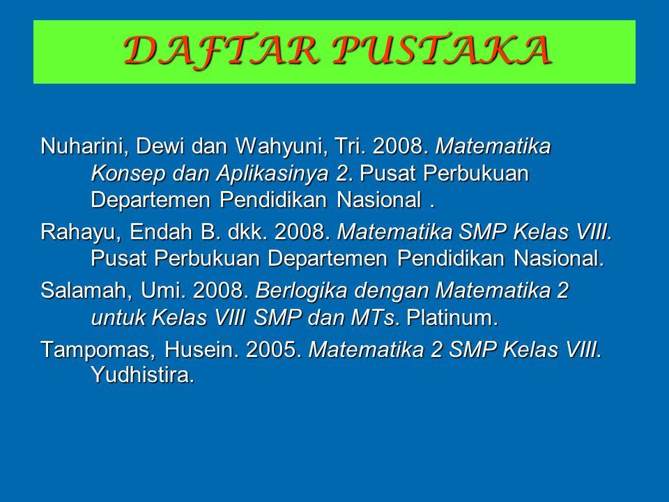 DAFTAR PUSTAKA Nuharini, Dewi dan Wahyuni, Tri. 2008. Matematika Konsep dan Aplikasinya 2. Pusat Perbukuan Departemen Pendidikan Nasional. Rahayu, End
