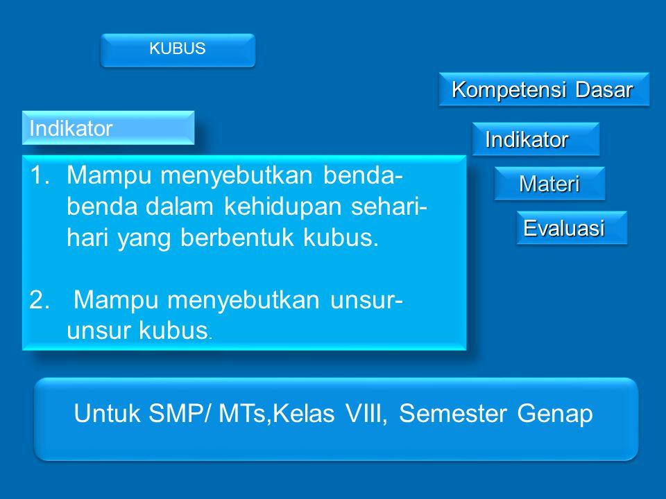 MateriMateri Kompetensi Dasar Kompetensi Dasar Indikator Indikator EvaluasiEvaluasi KUBUS Untuk SMP/ MTs,Kelas VIII, Semester Genap Indikator 1.Mampu