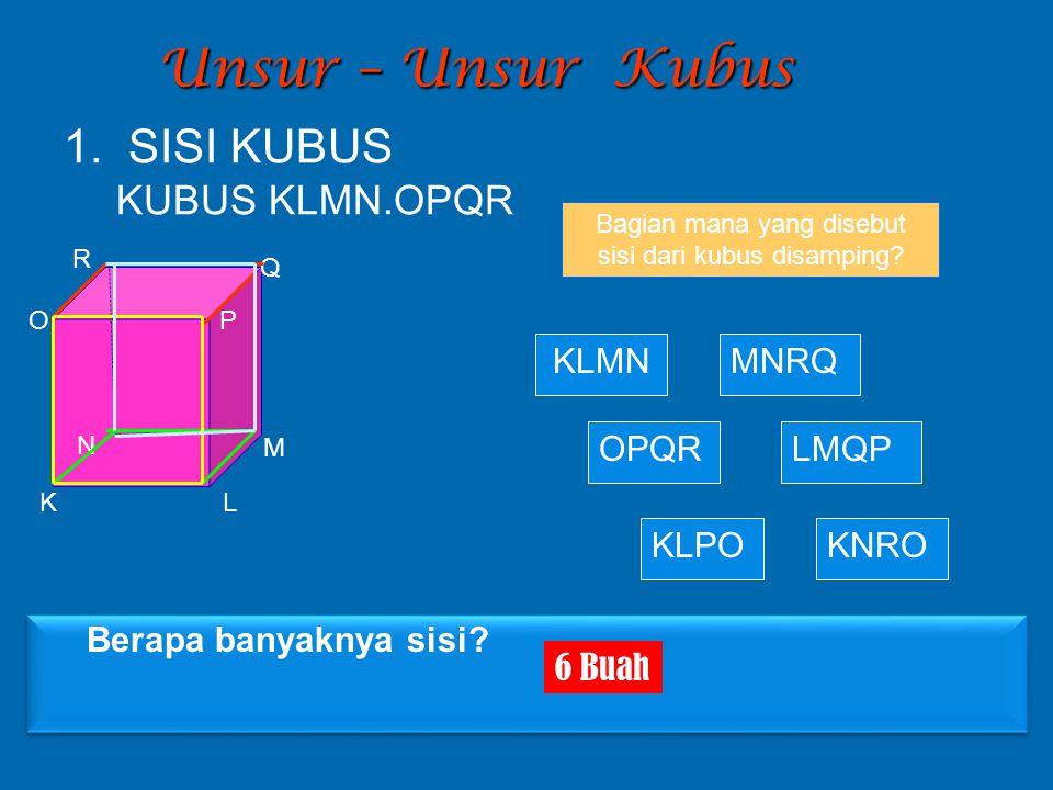 Unsur – Unsur Kubus Bagian mana yang disebut sisi dari kubus disamping? KLMN KLPO LMQP MNRQ KNRO OPQR 1. SISI KUBUS KUBUS KLMN.OPQR K L M N OP Q R Ber
