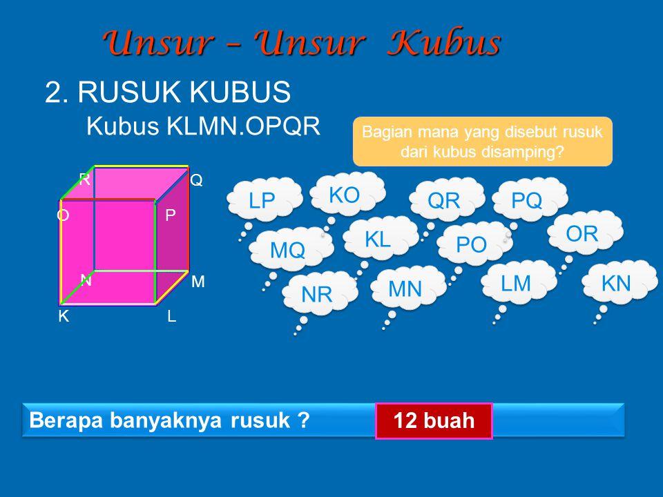 Unsur – Unsur Kubus Bagian mana yang disebut rusuk dari kubus disamping? LP MQ NR KL LM MN Berapa banyaknya rusuk ? 12 buah 2. RUSUK KUBUS Kubus KLMN.