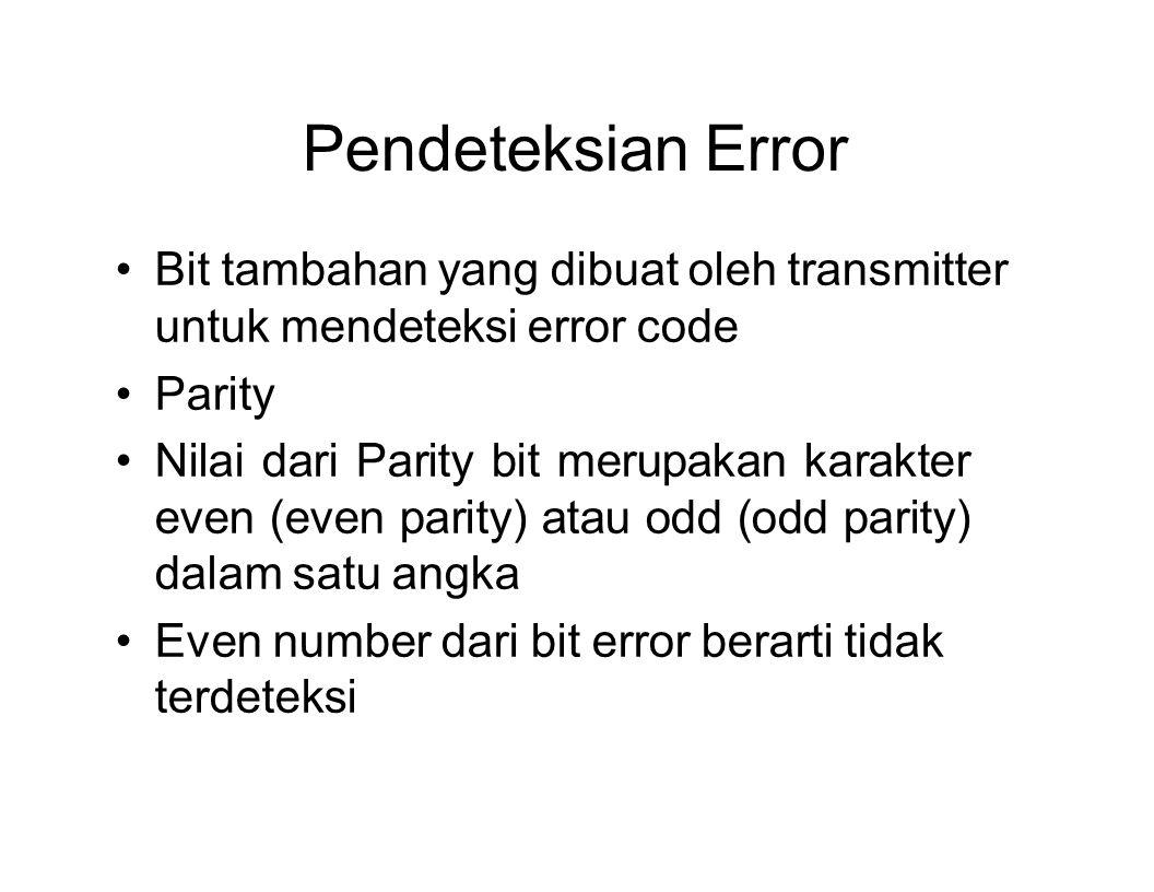 Pendeteksian Error Bit tambahan yang dibuat oleh transmitter untuk mendeteksi error code Parity Nilai dari Parity bit merupakan karakter even (even pa