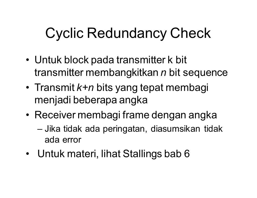 Cyclic Redundancy Check Untuk block pada transmitter k bit transmitter membangkitkan n bit sequence Transmit k+n bits yang tepat membagi menjadi beber