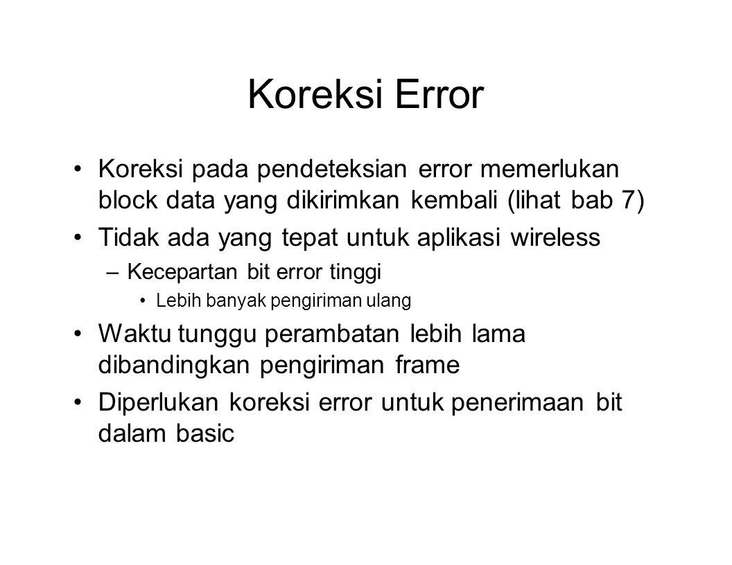 Koreksi Error Koreksi pada pendeteksian error memerlukan block data yang dikirimkan kembali (lihat bab 7) Tidak ada yang tepat untuk aplikasi wireless