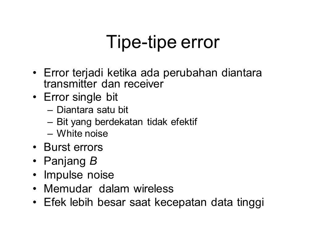 Tipe-tipe error Error terjadi ketika ada perubahan diantara transmitter dan receiver Error single bit –Diantara satu bit –Bit yang berdekatan tidak ef