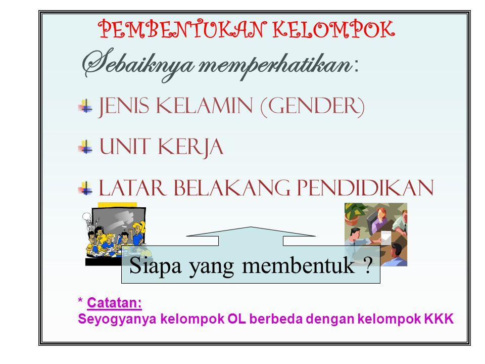 Sebaiknya memperhatikan : Jenis Kelamin (Gender) Unit Kerja Latar Belakang Pendidikan PEMBENTUKAN KELOMPOK Siapa yang membentuk .