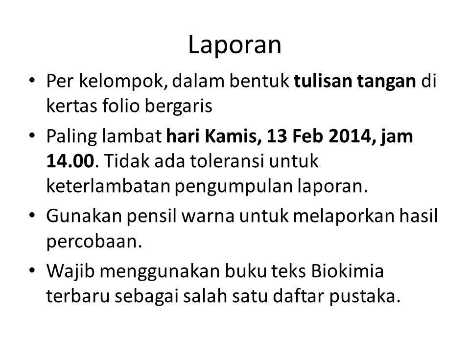 Laporan Per kelompok, dalam bentuk tulisan tangan di kertas folio bergaris Paling lambat hari Kamis, 13 Feb 2014, jam 14.00. Tidak ada toleransi untuk