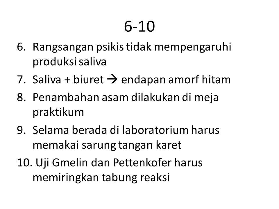 6-10 6.Rangsangan psikis tidak mempengaruhi produksi saliva 7.Saliva + biuret  endapan amorf hitam 8.Penambahan asam dilakukan di meja praktikum 9.Se