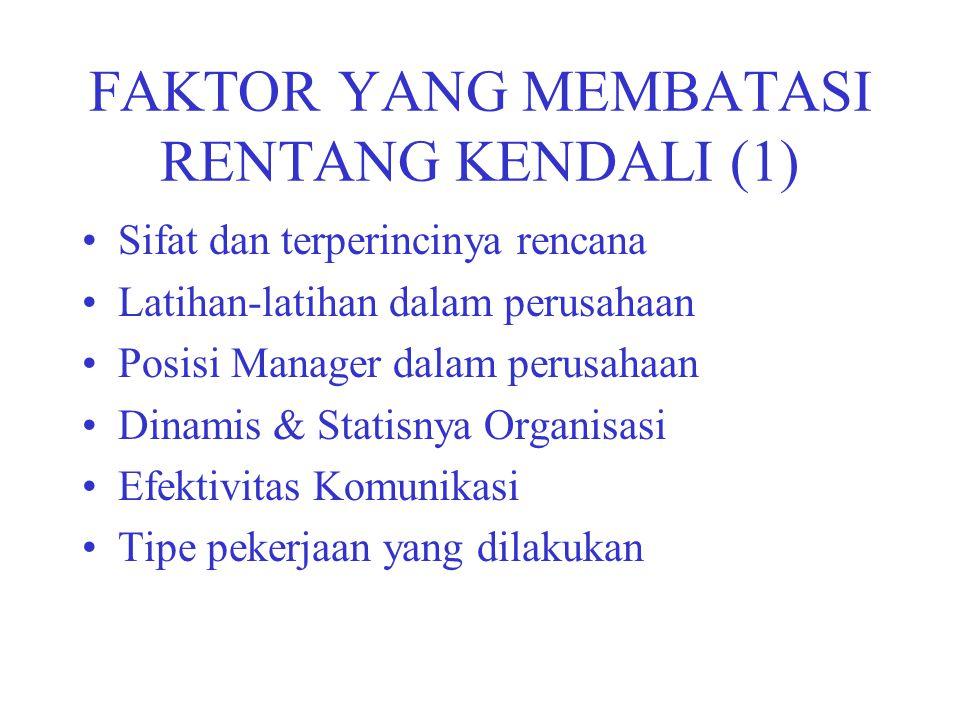 FAKTOR YANG MEMBATASI RENTANG KENDALI (1) Sifat dan terperincinya rencana Latihan-latihan dalam perusahaan Posisi Manager dalam perusahaan Dinamis & S