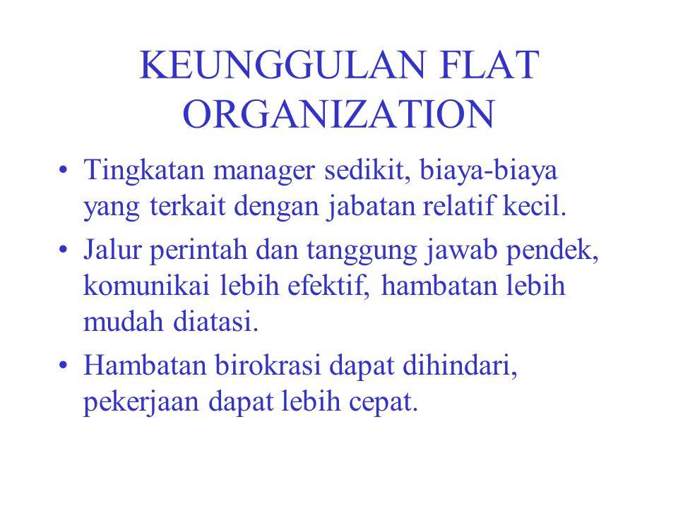 KEUNGGULAN FLAT ORGANIZATION Tingkatan manager sedikit, biaya-biaya yang terkait dengan jabatan relatif kecil. Jalur perintah dan tanggung jawab pende