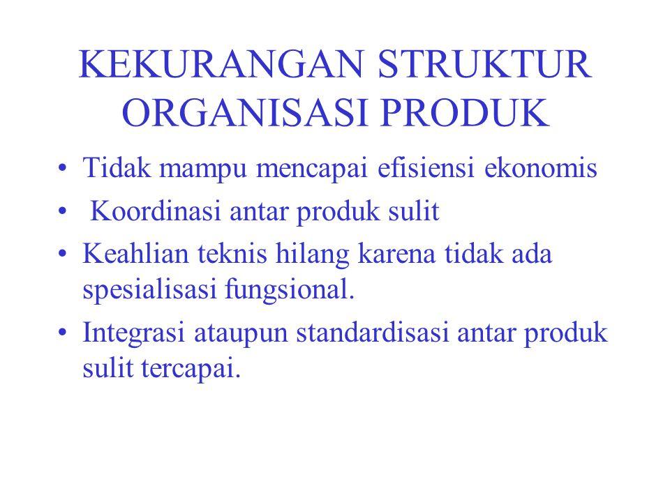 KEKURANGAN STRUKTUR ORGANISASI PRODUK Tidak mampu mencapai efisiensi ekonomis Koordinasi antar produk sulit Keahlian teknis hilang karena tidak ada sp