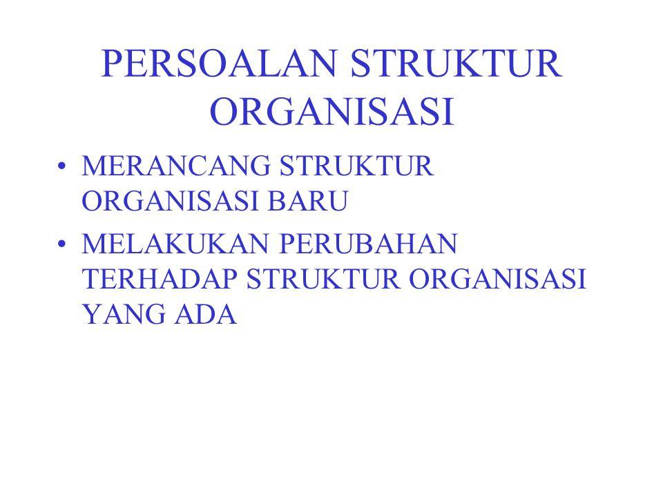 PERSOALAN STRUKTUR ORGANISASI MERANCANG STRUKTUR ORGANISASI BARU MELAKUKAN PERUBAHAN TERHADAP STRUKTUR ORGANISASI YANG ADA