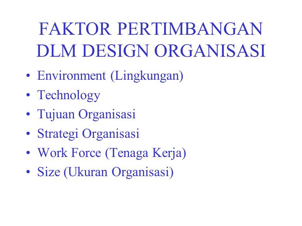 FAKTOR PERTIMBANGAN DLM DESIGN ORGANISASI Environment (Lingkungan) Technology Tujuan Organisasi Strategi Organisasi Work Force (Tenaga Kerja) Size (Uk