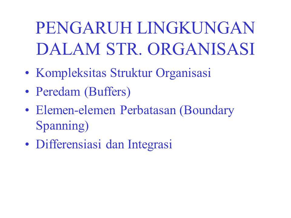 PENGARUH LINGKUNGAN DALAM STR. ORGANISASI Kompleksitas Struktur Organisasi Peredam (Buffers) Elemen-elemen Perbatasan (Boundary Spanning) Differensias