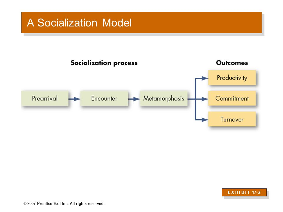 © 2007 Prentice Hall Inc. All rights reserved. A Socialization Model E X H I B I T 17–2