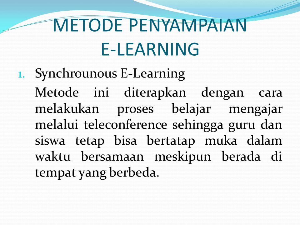 METODE PENYAMPAIAN E-LEARNING 1.