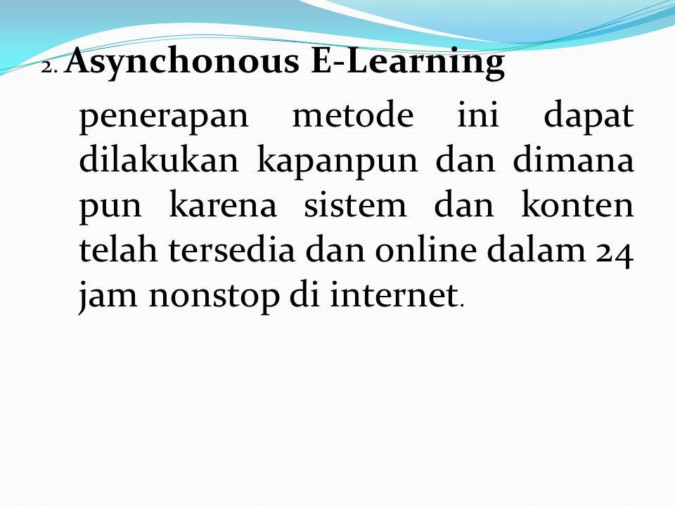 METODE PENYAMPAIAN E-LEARNING 1. Synchrounous E-Learning Metode ini diterapkan dengan cara melakukan proses belajar mengajar melalui teleconference se