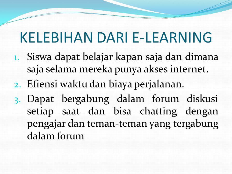 2. Asynchonous E-Learning penerapan metode ini dapat dilakukan kapanpun dan dimana pun karena sistem dan konten telah tersedia dan online dalam 24 jam