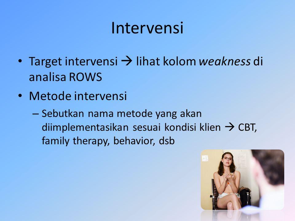 Langkah-langkah intervensi – Gunakan opportunities dan strengths dari analisa ROWS – 'Mengurangi atau menghilangkan kecemasan klien'  itu target intervensi.