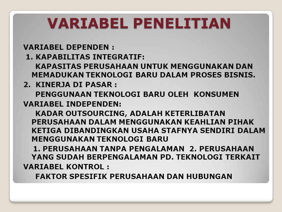 VARIABEL PENELITIAN VARIABEL DEPENDEN : 1. KAPABILITAS INTEGRATIF: KAPASITAS PERUSAHAAN UNTUK MENGGUNAKAN DAN MEMADUKAN TEKNOLOGI BARU DALAM PROSES BI