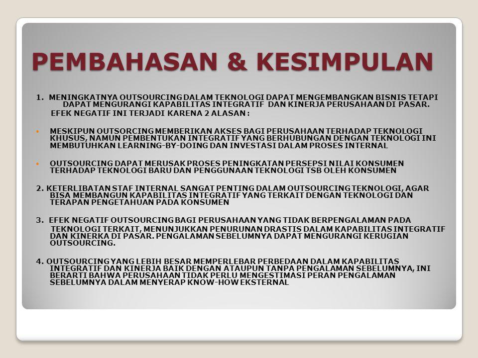 PEMBAHASAN & KESIMPULAN 1. MENINGKATNYA OUTSOURCING DALAM TEKNOLOGI DAPAT MENGEMBANGKAN BISNIS TETAPI DAPAT MENGURANGI KAPABILITAS INTEGRATIF DAN KINE