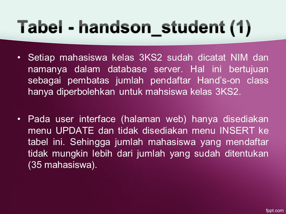 Setiap mahasiswa kelas 3KS2 sudah dicatat NIM dan namanya dalam database server.