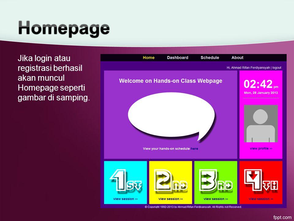 Jika login atau registrasi berhasil akan muncul Homepage seperti gambar di samping.