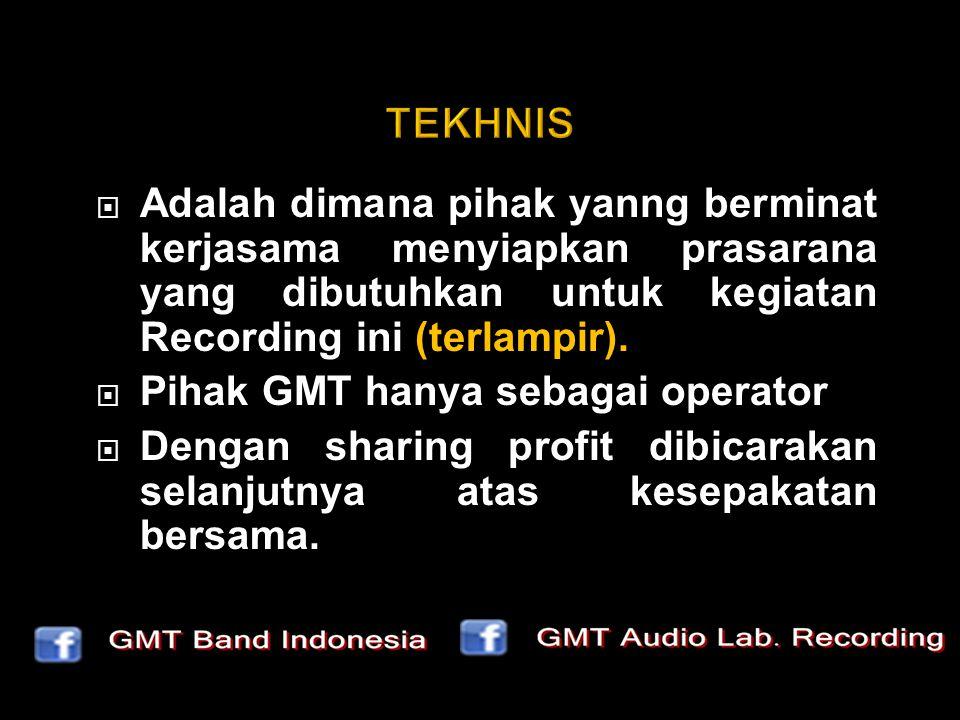  Adalah dimana pihak yanng berminat kerjasama menyiapkan prasarana yang dibutuhkan untuk kegiatan Recording ini (terlampir).