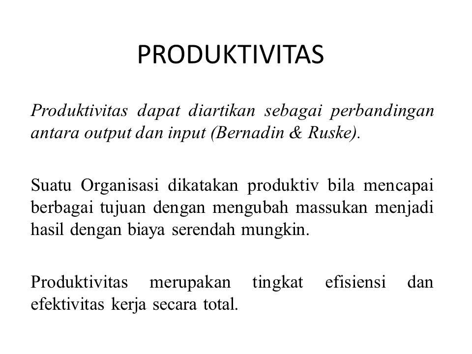 Produktivitas dapat diartikan sebagai perbandingan antara output dan input (Bernadin & Ruske). Suatu Organisasi dikatakan produktiv bila mencapai berb