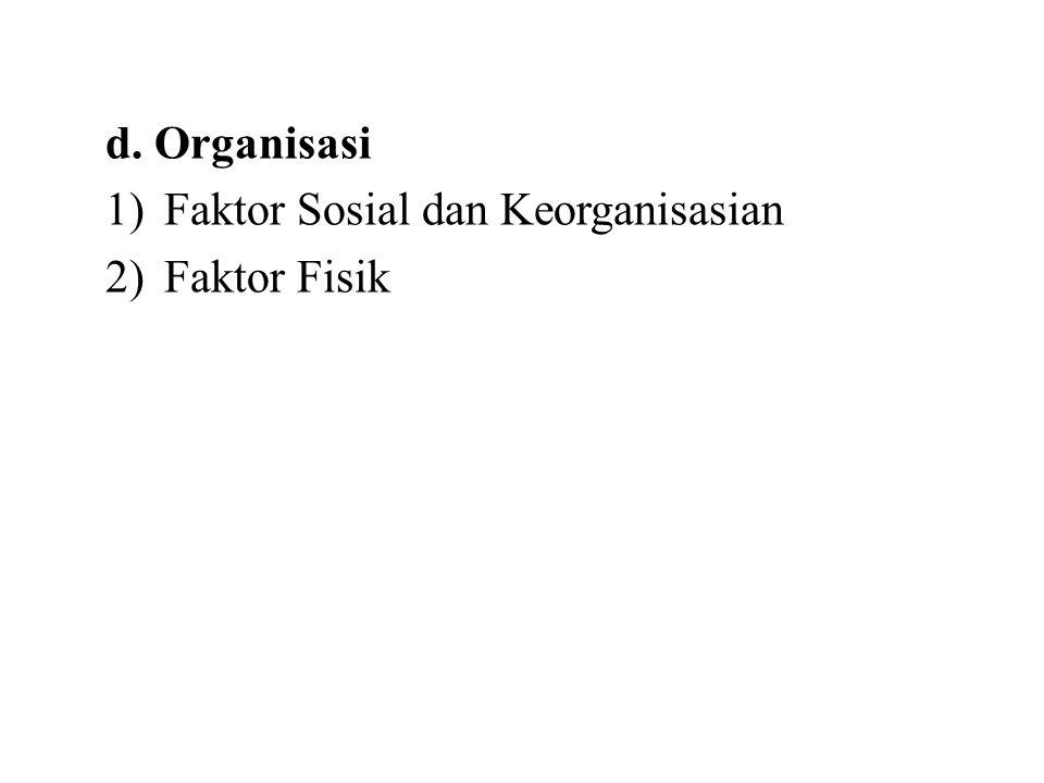 d. Organisasi 1)Faktor Sosial dan Keorganisasian 2)Faktor Fisik