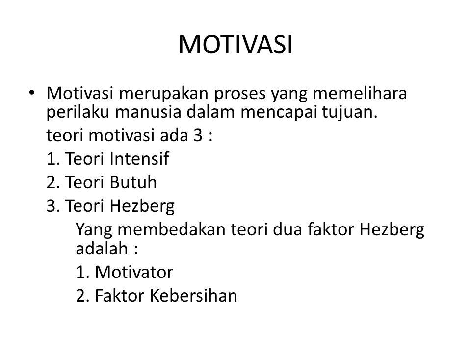 MOTIVASI Motivasi merupakan proses yang memelihara perilaku manusia dalam mencapai tujuan. teori motivasi ada 3 : 1. Teori Intensif 2. Teori Butuh 3.