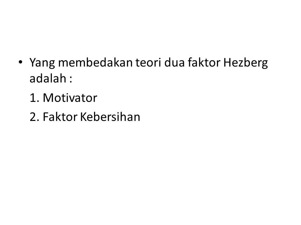 Yang membedakan teori dua faktor Hezberg adalah : 1. Motivator 2. Faktor Kebersihan