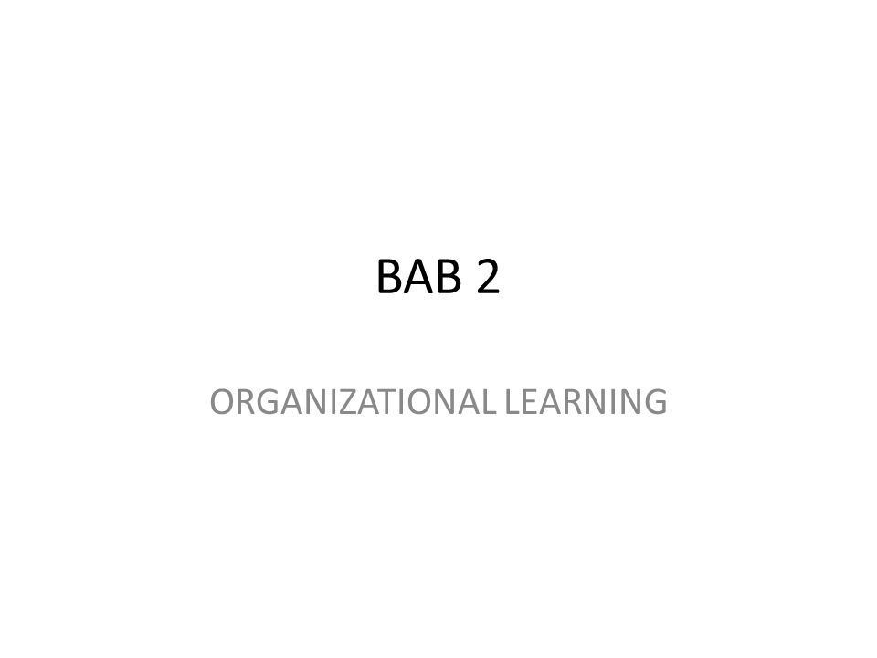 BAB 2 ORGANIZATIONAL LEARNING