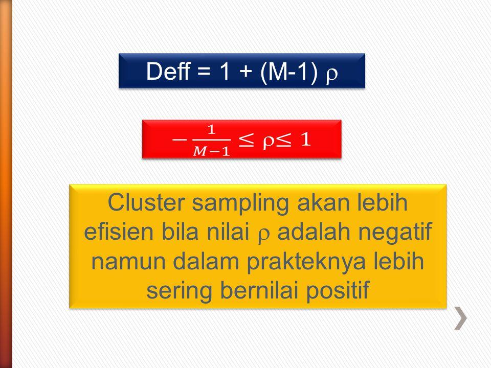 Cluster sampling akan lebih efisien bila nilai  adalah negatif namun dalam prakteknya lebih sering bernilai positif Deff = 1 + (M-1) 