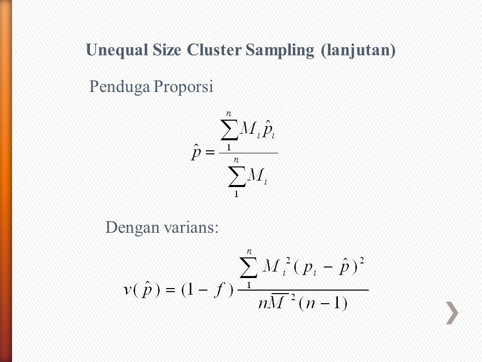 Unequal Size Cluster Sampling (lanjutan) Dengan varians: Penduga Proporsi
