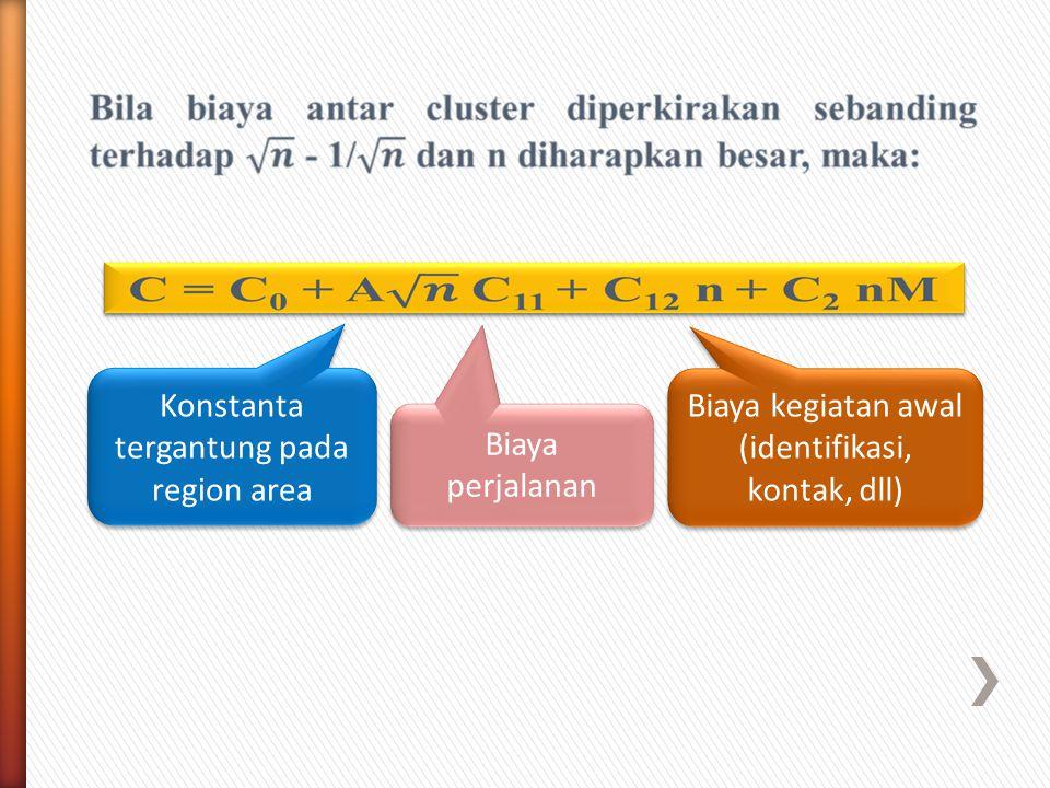 Konstanta tergantung pada region area Biaya perjalanan Biaya kegiatan awal (identifikasi, kontak, dll)