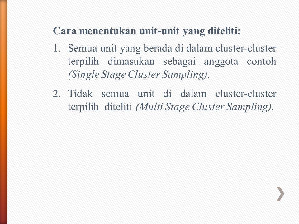 Cara menentukan unit-unit yang diteliti: 1.Semua unit yang berada di dalam cluster-cluster terpilih dimasukan sebagai anggota contoh (Single Stage Cluster Sampling).