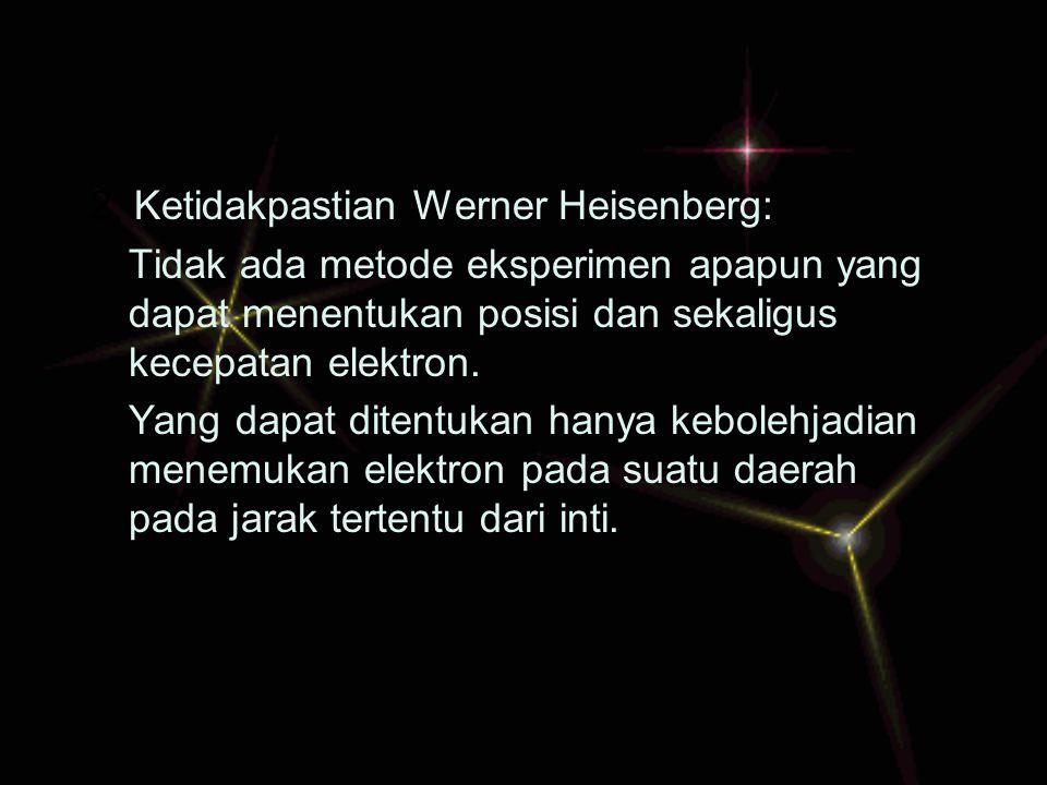 2. Ketidakpastian Werner Heisenberg: Tidak ada metode eksperimen apapun yang dapat menentukan posisi dan sekaligus kecepatan elektron. Yang dapat dite