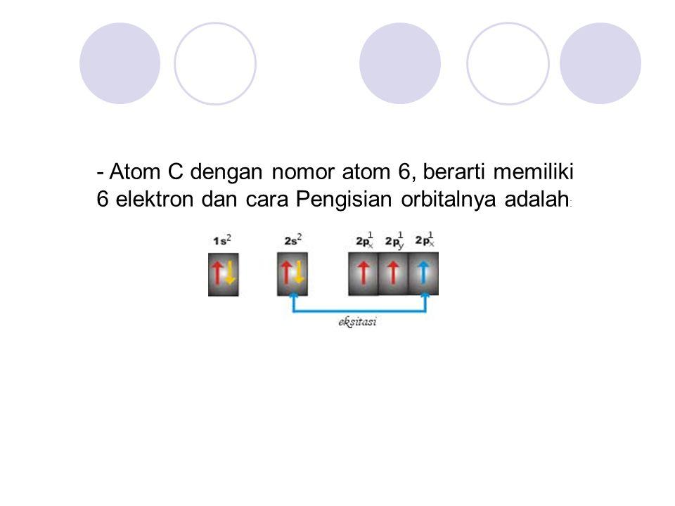 - Atom C dengan nomor atom 6, berarti memiliki 6 elektron dan cara Pengisian orbitalnya adalah :