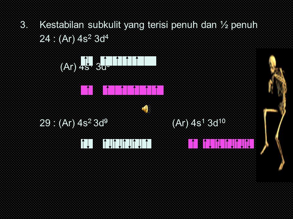 3.Kestabilan subkulit yang terisi penuh dan ½ penuh 24 : (Ar) 4s 2 3d 4 (Ar) 4s 1 3d 5 29 : (Ar) 4s 2 3d 9 (Ar) 4s 1 3d 10