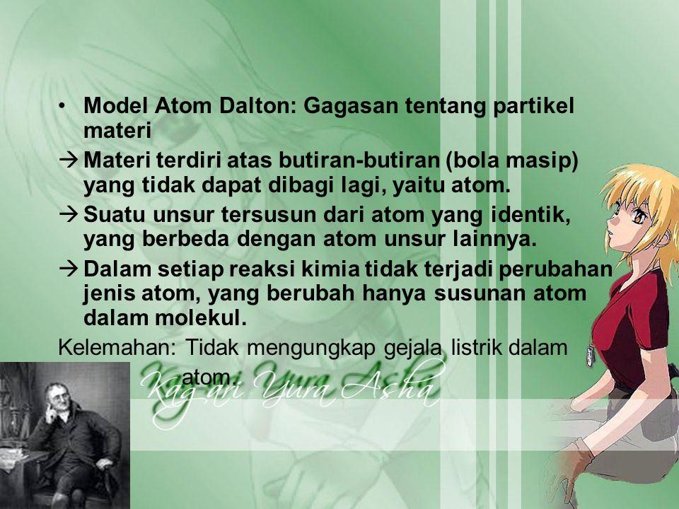 Model Atom Dalton: Gagasan tentang partikel materi  Materi terdiri atas butiran-butiran (bola masip) yang tidak dapat dibagi lagi, yaitu atom.  Suat