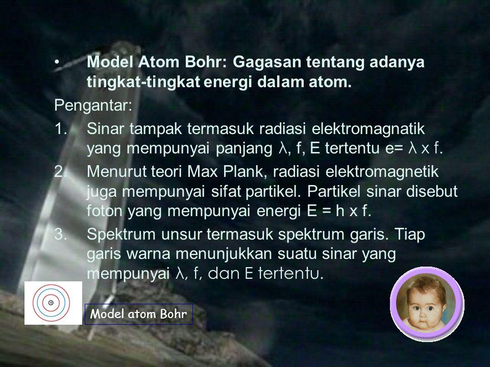 Isi Teori Atom Bohr  Atom terdiri dari inti bermuatan positif dan elektron-elektron yang mengitarinya pada lintasan-lintasan tertentudengan tingkat energi tertentu, bagai planet-planet yang mengitari matahari.