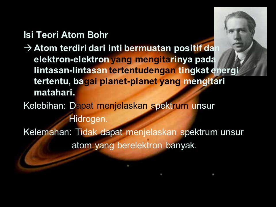 Isi Teori Atom Bohr  Atom terdiri dari inti bermuatan positif dan elektron-elektron yang mengitarinya pada lintasan-lintasan tertentudengan tingkat e