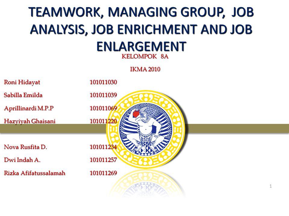 TEAMWORK, MANAGING GROUP, JOB ANALYSIS, JOB ENRICHMENT AND JOB ENLARGEMENT KELOMPOK 8A IKMA 2010 Roni Hidayat101011030 Sabilla Emilda101011039 Aprilli