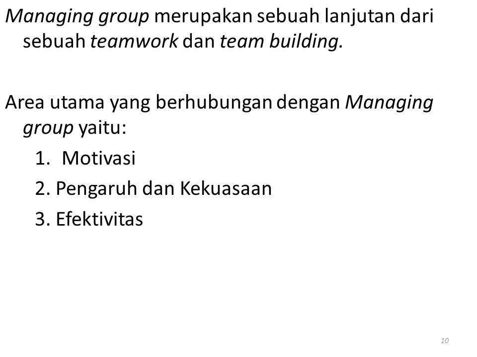 Managing group merupakan sebuah lanjutan dari sebuah teamwork dan team building. Area utama yang berhubungan dengan Managing group yaitu: 1.Motivasi 2