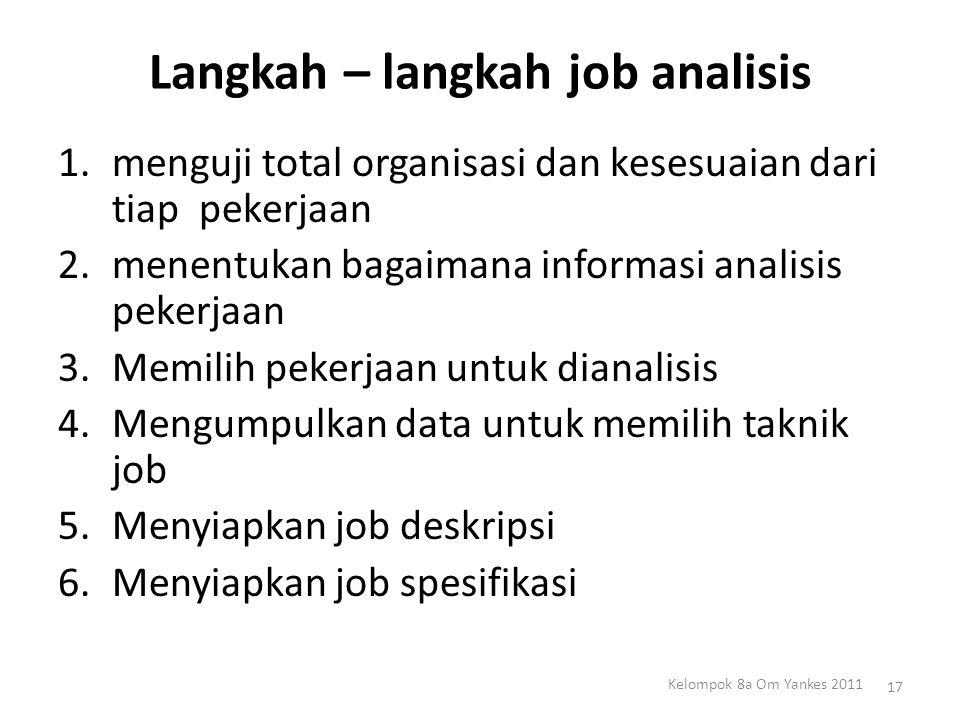 Langkah – langkah job analisis 1.menguji total organisasi dan kesesuaian dari tiap pekerjaan 2.menentukan bagaimana informasi analisis pekerjaan 3.Mem