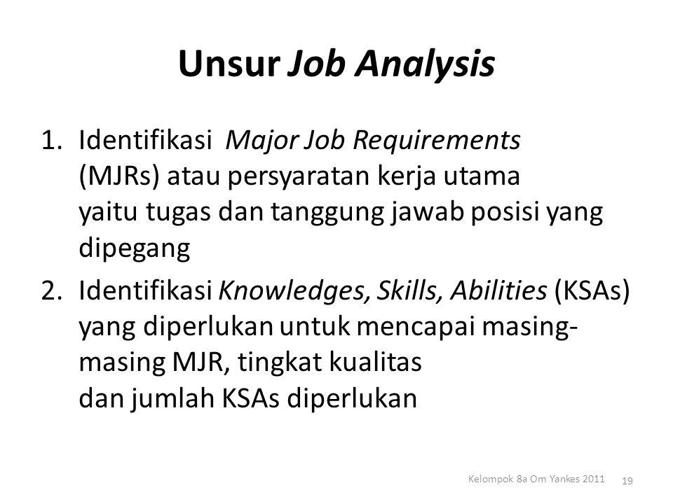 Unsur Job Analysis 1.Identifikasi Major Job Requirements (MJRs) atau persyaratan kerja utama yaitu tugas dan tanggung jawab posisi yang dipegang 2.Ide